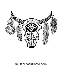 Contour illustration bull skull with antlers and feathers with boho pattern. Vector doodle element for printing on T-shirts, tattoo sketch, postcards and your creativity