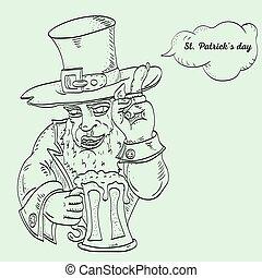 contour illustration coloring on the theme of St. Patricks day celebration, leprechaun holding a glass of foam ale