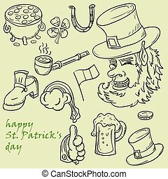 contour illustration coloring on the theme of St. Patricks day, set of elements for design and decoration