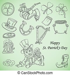 contour illustration coloring on the theme of St. Patricks day, set of elements for design