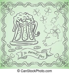 contour illustration coloring on the theme of the celebration of St. Patricks day, a glass of beer with foam