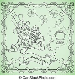 contour illustration coloring on the theme of the celebration of St. Patricks day, leprechaun dwarf sitting with a glass of beer