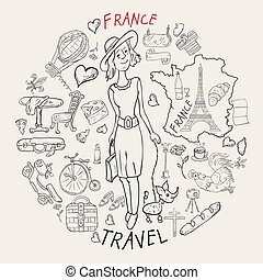 contour illustration, coloring, travel 3 to the country of Europe, France, symbols and attractions, a set of drawings for printing design and web design