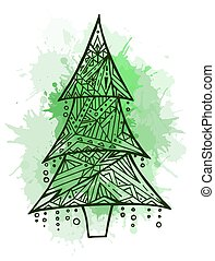 Contour illustration of a Christmas tree with boho pattern and w