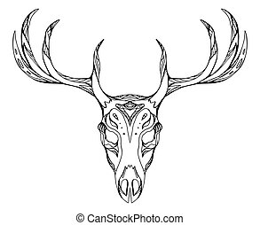 Contour illustration of a deer skull with antlers with boho pattern. Vector doodle element for printing on T-shirts, tattoo sketch, postcards and your creativity