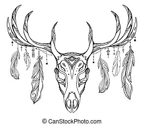 Contour illustration of a deer skull with antlers and feathers with boho pattern. Vector doodle element for printing on T-shirts, tattoo sketch, postcards and your creativity