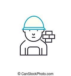 contour, illustration, signe, symbole, ligne, maçon, coup, vecteur, mince, icon., concept., brique, linéaire