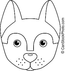 contour, image, husky, mignon, -, vecteur, coloration, chiot, illustration, head., coloring., chien, tête, enfants, book., chien, linéaire, museau