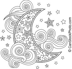 Contour image of moon crescent clouds stars in zentangle...