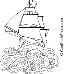 Contour image of ship on the wave in zentangle ispired ...