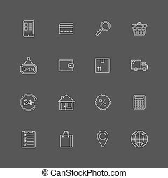 Contour internet shopping icons set