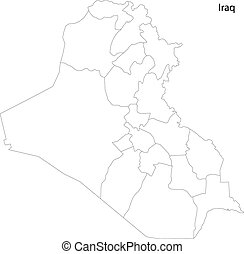 Contour Iraq map - Map of administrative divisions of Iraq