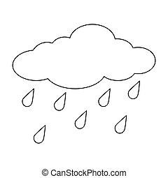 contour, isolé, pluie, fond, blanc, gouttes, dessin animé, nuage