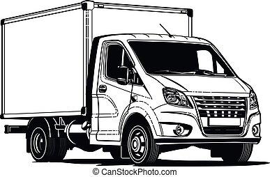 contour, isolé, vecteur, camion, gabarit, blanc