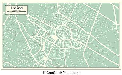 contour, italie, style., map., latina, retro, carte ville