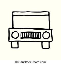 contour, jeep, griffonnage, voyage, main, dessiné, icône