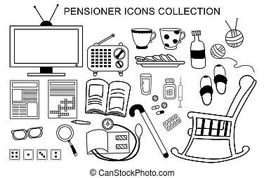 contour, jeux, -, medicine., icônes, domino, puzzle, mots croisés, retraité, activités, isolé, personnes agées, vecteur, ensemble, man., vie, journal