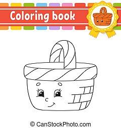 contour, livre coloration, page, noir, mignon, blanc, style., vecteur, arrière-plan., illustration., children., fantasme, isolé, silhouette., character., gai, dessin animé, kids.
