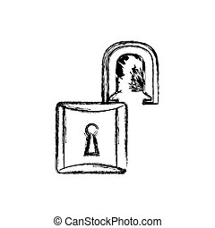 contour lock open icon image, vector illustration design