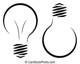 Contour logo of the incandescent lamp. The emergence of an...