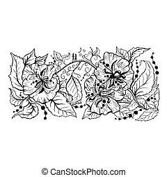 contour, main, branche, floral, dessiné, dessin