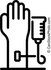 contour, main, style, anesthésie, icône