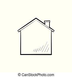 contour, maison, main, griffonnage, dessiné, icon.