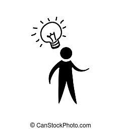 contour man with bulb idea icon
