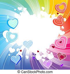 Contour many-coloured hearts on rainbow swirl background