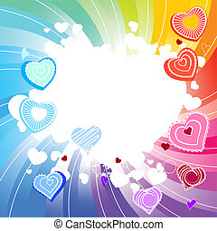 Contour many-coloured hearts on rainbow swirl background