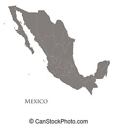 Contour map of Mexico on a white background