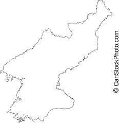 Map Of North Korea Outline Vector Isolated On White