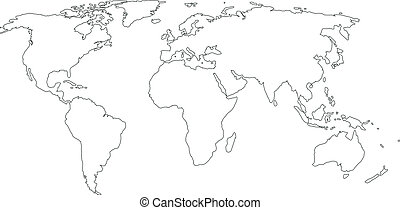 contour map of the world on a white background