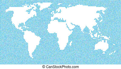 contour map of the world of bubbles on a blue background
