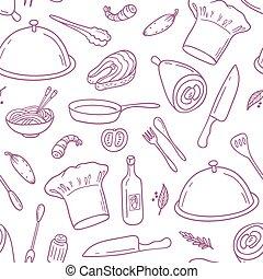 contour, modèle, seamless, cuisine, main, conception, fond, dessiné, café, ou, nourriture.