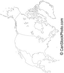 Contour North America map with country borders