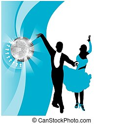 contour of a beautiful dancing couple. black and cyan. stylized vector drawing