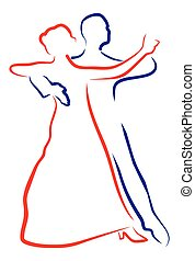 contour of a dancing couple