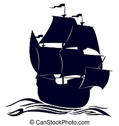 Contour of a sailing ship - Old sailing ship. Illustration...