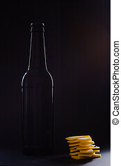 Contour of beer bottle and cheese