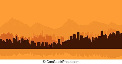 Contour of city on a background mou