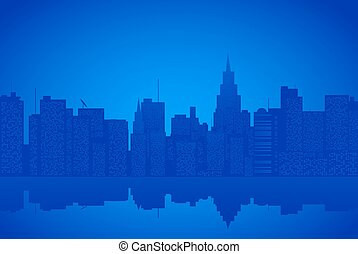 Contour of city on a blue background