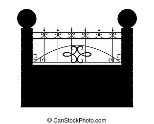 Contour of fence isolated on white background. 3d render image