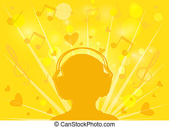 Contour of human with headphones on a yellow background bokeh of music and hearts.