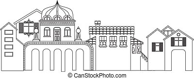 Contour of small town buildings. Vector cityscape silhouette.