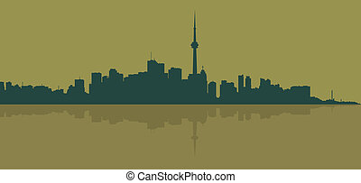 Contour of the big city on a dark yellow background.