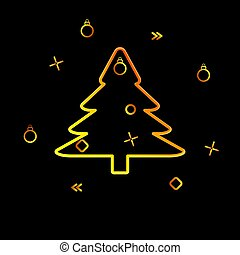 contour of the Christmas tree and festive tinsel on a black background