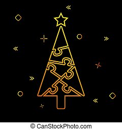 contour of the Christmas tree from puzzles and festive tinsel on a black background