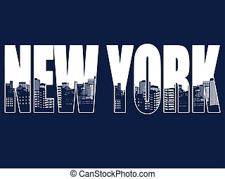 Contour of the city of New York on blue background, vector illustration