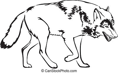 The contour image of walking mother wolf